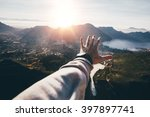 hand of a man reaching out the... | Shutterstock . vector #397897741