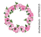 pink floral wreath with peonies....   Shutterstock . vector #397900315
