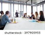 business man talking about... | Shutterstock . vector #397905955
