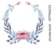 Wreath With Watercolor Blue An...