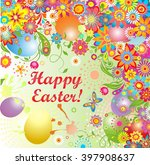 easter wreath with colorful...   Shutterstock . vector #397908637
