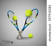 tennis ball and racket. sport...   Shutterstock .eps vector #397910281