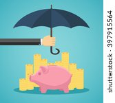 hand holding umbrella to... | Shutterstock .eps vector #397915564