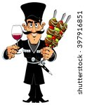 man with barbecue and wine | Shutterstock .eps vector #397916851