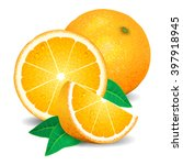 fresh oranges fruit  pieces of... | Shutterstock . vector #397918945