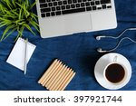 laptop and some objects such as ... | Shutterstock . vector #397921744