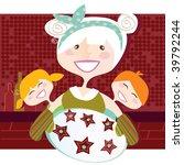 grandmother with sweet cookies. ... | Shutterstock .eps vector #39792244