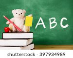 cute teddy bear with a pencil... | Shutterstock . vector #397934989