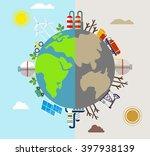 solar energy  wind energy.... | Shutterstock .eps vector #397938139