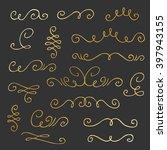 golden set of hand drawn... | Shutterstock .eps vector #397943155