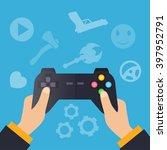 hands holding wireless gamepad. ... | Shutterstock .eps vector #397952791