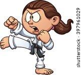 cartoon girl practicing karate. ... | Shutterstock .eps vector #397961029