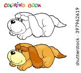 coloring book with dog   vector ... | Shutterstock .eps vector #397962619