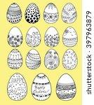 easter eggs set. hand painted... | Shutterstock .eps vector #397963879