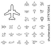 linear aviation icons set....