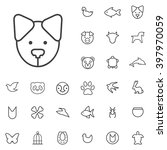 linear animals icons set....