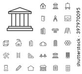 linear architecture icons set....
