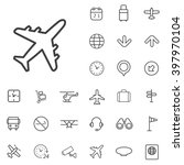 linear airport icons set....