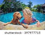 funny portrait of smiley woman... | Shutterstock . vector #397977715