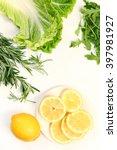 fresh green salad on white | Shutterstock . vector #397981927