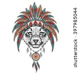 cheetah in the indian roach.... | Shutterstock .eps vector #397985044