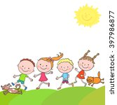 group of happy boys and girls... | Shutterstock .eps vector #397986877