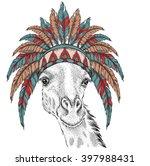 giraffe in the indian roach.... | Shutterstock .eps vector #397988431