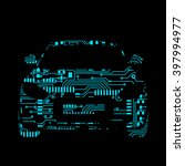 car in circuit board style... | Shutterstock .eps vector #397994977