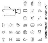 linear cinema icons set....