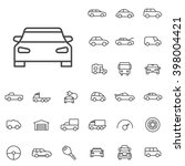 Linear Car Icons Set. Universa...