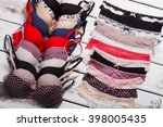 sexy different lace panties and ... | Shutterstock . vector #398005435