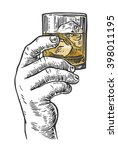 male hand holding a shot of... | Shutterstock .eps vector #398011195