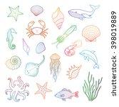 sea set. stingray  jellyfish ... | Shutterstock .eps vector #398019889