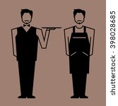 vector waiter and barista... | Shutterstock .eps vector #398028685