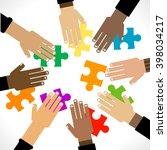 diversity hands puzzle...   Shutterstock .eps vector #398034217