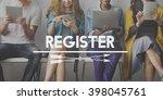 register registration apply... | Shutterstock . vector #398045761