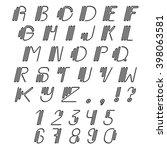 original curved latin alphabet... | Shutterstock .eps vector #398063581
