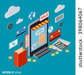 mobile store  online shopping ... | Shutterstock .eps vector #398064067