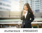 young business woman calling on ... | Shutterstock . vector #398068345