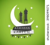 stylish text ramadan kareem on... | Shutterstock .eps vector #398099071