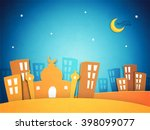 creative paper cutout of mosque ... | Shutterstock .eps vector #398099077