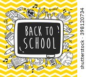 back to school themed doodle... | Shutterstock .eps vector #398120734