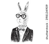 hand drawn dressed up bunny boy ... | Shutterstock .eps vector #398134909