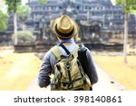 young traveler wearing a hat... | Shutterstock . vector #398140861