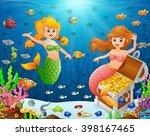 illustration of a mermaid under ... | Shutterstock . vector #398167465