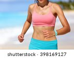 sporty running woman midsection ... | Shutterstock . vector #398169127