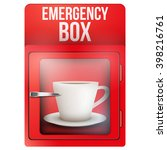 red emergency box with cup of... | Shutterstock .eps vector #398216761