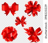 set of red bow vector... | Shutterstock .eps vector #398223229