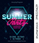 dj summer party  night club... | Shutterstock .eps vector #398225629