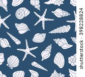 seamless pattern with seashells ... | Shutterstock .eps vector #398228824